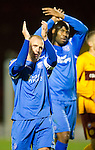 Motherwell v St Johnstone...10.11.10  .Jody Morris and Michael Duberry at full time.Picture by Graeme Hart..Copyright Perthshire Picture Agency.Tel: 01738 623350  Mobile: 07990 594431