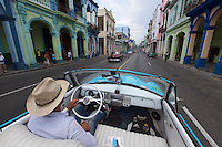 Havana, Cuba. A vintage American cabriolet at Central Habana.