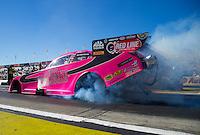 Nov 13, 2015; Pomona, CA, USA; NHRA funny car driver Alexis DeJoria during qualifying for the Auto Club Finals at Auto Club Raceway at Pomona. Mandatory Credit: Mark J. Rebilas-USA TODAY Sports