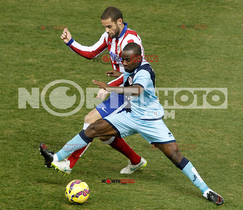 Atletico de Madrid's Mario Suarez (l) and Rayo Vallecano's Gael Kakuta during La Liga match.January 24,2015. (ALTERPHOTOS/Acero) /NortePhoto<br />