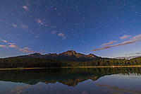 The Big Dipper over Pyramid Mountain and Patricia Lake in Jasper National Park, Alberta. Taken July 28, 2012 with Canon 7D and 10-22mm lens for 45s at f/4 and ISO 800. Moonlight from waxing gibbous Moon (off camera) provides the illumination.
