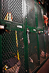 15 February 2008: Some dusty University of Vermont Catamount lockers are located under the stands at Gutterson Fieldhouse in Burlington, Vermont. ..Mandatory Photo Credit: Ed Wolfstein Photo