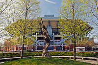 Arthur Ashe Stadium, Soul In Flight:  14-foot statue honoring Arthur Ashe, created by Eric Fischl, Arthur Ashe Memorial,  a part of the USTA Billie Jean King National Tennis Center located within Flushing Meadows-Corona Park, Queens, New York City, New York, USA, opened in 1997, Rossetti Architects