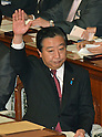 October 28, 2011, Tokyo, Japan - Japanese Prime Minister Yoshihiko Noda raised his hand before delivering his policy speech at a plenary session of the Diet's lower house in Tokyo on Friday, October 28, 2011. Noda stressed that the government is doing its utmost to cut costs in a bid to justify the tax burden needed to fund the 12.1 trillion yen disaster reconstruction budget. The prime minister also emphasized that hikes in income, corporate and local residential taxes are temporary and designed to cover what the government can't squeeze out of cost cuts and asset selling. (Photo by Natsuki Sakai/AFLO) [3615] -mis-
