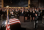 The Capitol Rotunda, Washington D.C. - March 31, 1969. United States President Richard Nixon delivering a eulogy for former President Dwight Eisenhower during funeral service at the National Cathedral. He (October 14, 1890 - March 28, 1969) was the 34th President of the United States from 1953 until 1961, was a five-star general in the United States Army during World War II and was the first supreme commander of NATO.