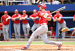 09 June 2012: NC State's Ryan Mathews. The University of Florida Gators defeated the North Carolina State University Wolfpack 7-1 at Alfred A. McKethan Stadum in Gainesville, Florida in Game 1 of their NCAA College Baseball Super Regional series.