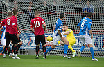 Brechin City v St Johnstone&hellip;26.07.16  Glebe Park, Brechin. Betfred Cup<br />Graeme Smith saves Joe Shaughnessy&rsquo;s header<br />Picture by Graeme Hart.<br />Copyright Perthshire Picture Agency<br />Tel: 01738 623350  Mobile: 07990 594431