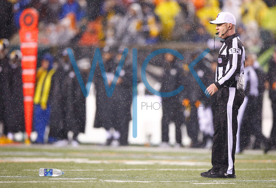 Referee John Parry looks on while a bottle of water is thrown onto the field in the second half between the Pittsburgh Steelers and the Cincinnati Bengals during the Wild Card playoff game at Paul Brown Stadium on January 9, 2016 in Cincinnati, Ohio. (Photo by Jared Wickerham/DKPittsburghSports)