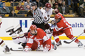 ?, Charlie Coyle (BU - 3), Bob Bernard, Patrick Wey (BC - 6), Matt Nieto (BU - 17) - The Boston College Eagles defeated the Boston University Terriers 3-2 (OT) in their Beanpot opener on Monday, February 7, 2011, at TD Garden in Boston, Massachusetts.