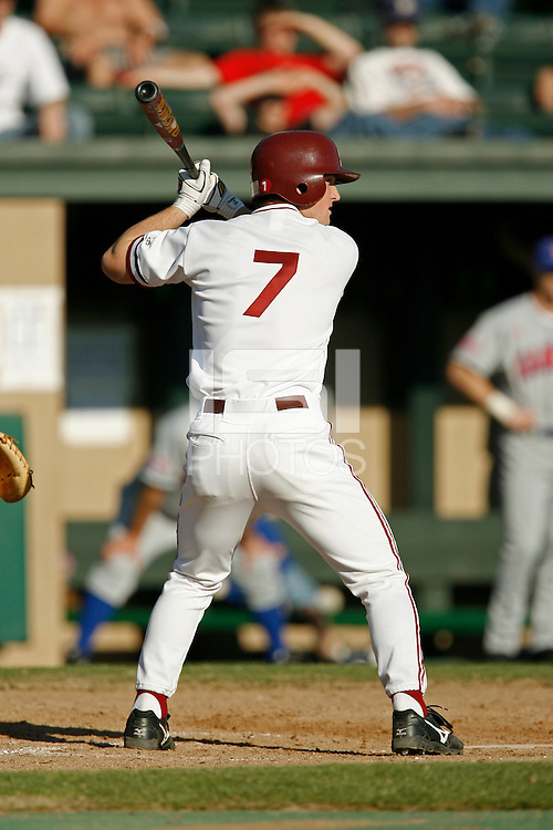 11 February 2006: Outfielder Joey August during Stanford's 5-4 loss to the Kansas Jayhawks at Sunken Diamond in Stanford, CA.