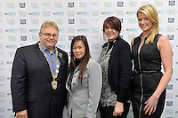 from left, Mayor Ray Wallace, Shika Braddock, Denise Anglesey and Ashley Bradley, New Zealand Eco Fashion Exposed Opening Function at 151 High Street, Lower Hutt, New Zealand on Wednesday 23 July 2014. <br /> Photo by Masanori Udagawa. <br /> www.photowellington.photoshelter.com.