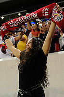 A New York Red Bulls fan celebrates a goal during the first half of a friendly between Santos FC and the New York Red Bulls at Red Bull Arena in Harrison, NJ, on March 20, 2010. The Red Bulls defeated Santos FC 3-1.