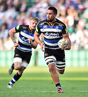 Leroy Houston of Bath Rugby in possession. West Country Challenge Cup match, between Bath Rugby and Gloucester Rugby on September 26, 2015 at the Recreation Ground in Bath, England. Photo by: Patrick Khachfe / Onside Images
