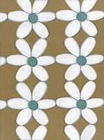 Daisies, a waterjet glass mosaic shown in Aalto, Serpentine and Moonstone, is part of the Erin Adams Collection for New Ravenna Mosaics.<br />
