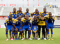 Barbados lines up before the group stage of the CONCACAF Men's Under 17 Championship at Catherine Hall Stadium in Montego Bay, Jamaica. Honduras defeated Barbados, 2-1.