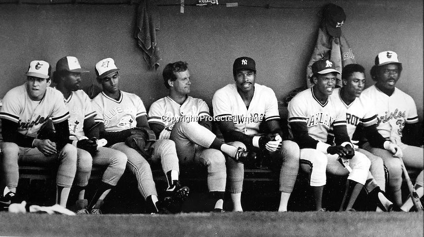 1984 American League All-Star team dugout at Candlestick Park in San Francisco.