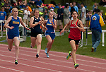 LITCHFIELD,  CT-052017JS16- Northwestern's Sydney Dzenutis took first place in the 1600M dash with a time of 59:41 beating out Housatonic's Emily Geyselaers; Shepaug's Olivia Tibbatts and Gilbert's Grace Valickis, during the Berkshire League Outdoor Track and Field Championships Saturday at the Plumb Hill Sports Complex in Litchfield. <br /> Jim Shannon Republican-American