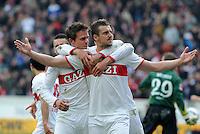 FUSSBALL  1. BUNDESLIGA  SAISON 2011/2012  29. Spieltag   07.04.2012 VfB Stuttgart - 1. FSV Mainz JUBEL Stuttgart; Zdravko Kuzmanovic (re) umarmt von Martin Harnik