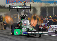 Apr 29, 2016; Baytown, TX, USA; NHRA top fuel driver Kebin Kinsley during qualifying for the Spring Nationals at Royal Purple Raceway. Mandatory Credit: Mark J. Rebilas-USA TODAY Sports