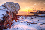 A winter sunset at Pemaquid Point in Bristol, ME, USA