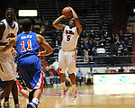 Ole Miss' Dundrecous Nelson (5) makes a three pointer vs. SMU at the C.M. &quot;Tad&quot; Smith Coliseum in Oxford, Miss. on Tuesday, January 3, 2012. Ole Miss won 50-48.