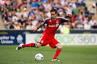 Eric Avila (8) of Toronto FC. The Philadelphia Union defeated Toronto FC 3-0 during a Major League Soccer (MLS) match at PPL Park in Chester, PA, on July 8, 2012.