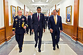 United States President Barack Obama walks with U.S. Secretary of Defense Leon Panetta and General Martin Dempsey, Chairman of the Joint Chiefs of Staff to a brief at the Pentagon on January 5, 2012. President Obama and Secretary Panetta delivered remarks on the Defense Strategic Guidance for the Defense Department going forward. They were joined by Deputy Defense Secretary Ashton Carter and the members of the Joint Chiefs and Service Secretaries..Mandatory Credit: Erin A. Kirk-Cuomo / DoD via CNP