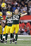 Green Bay Packers' Clay Matthews celebrates the Packers Super win over the Steelers. .The Green Bay Packers played the Pittsburgh Steelers in Super Bowl XLV,  Sunday February 6, 2011 in Cowboys Stadium. Steve Apps-State Journal.