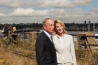 NY Mayor Mike Bloomberg poses with NYC Planning Commissioner Amanda Burden at the groundbreaking ceremony for the third segment of the High Line Park, covering West 30th to West 34th Streets in New York, on Thursday, September 20, 2012.The final phase of the popular park is scheduled to open in 2014 and over ten million visitors have toured the park since its opening in 2009.   (© Richard B. Levine)