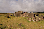 Chile, Easter Island: Platforms at site Ahu Vinapu showing two stages of stone construction, one more primitive and the latter more exquisite, possibly influenced by the Incas..Photo #: ch312-33684..Photo copyright Lee Foster www.fostertravel.com lee@fostertravel.com 510-549-2202