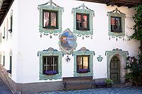 Traditional old 18th Century Tyrolean house in Dorfstrasse built 1787 in the town of Oetz in the Tyrol, Austria