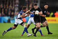 Beauden Barrett of New Zealand looks to get past Jacques Burger of Namibia. Rugby World Cup Pool C match between New Zealand and Namibia on September 24, 2015 at The Stadium, Queen Elizabeth Olympic Park in London, England. Photo by: Patrick Khachfe / Onside Images
