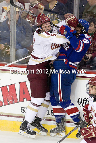 Michael Matheson (BC - 5), Riley Wetmore (UML - 16) - The Boston College Eagles defeated the visiting University of Massachusetts Lowell River Hawks 6-3 on Sunday, October 28, 2012, at Kelley Rink in Conte Forum in Chestnut Hill, Massachusetts.