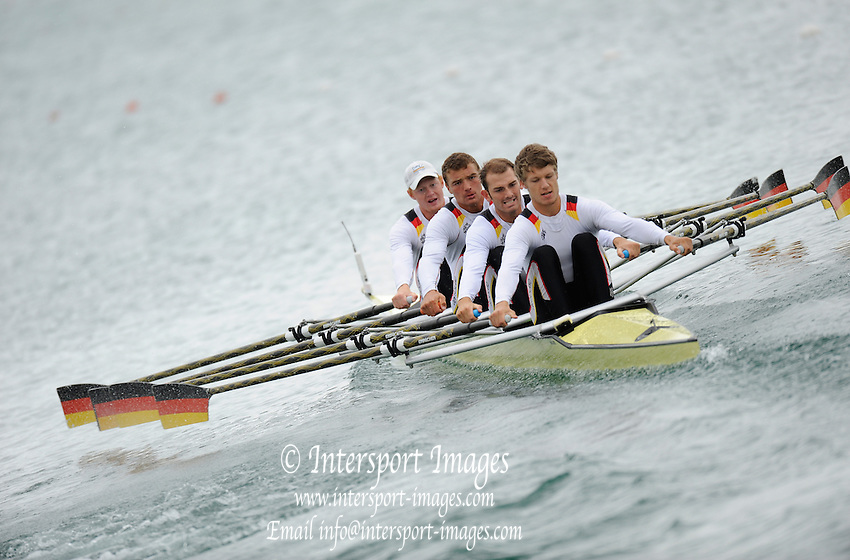 Munich, GERMANY.  GER M4X. Bow. Stephan KRUEGER, Tim GROHMANN, Lauritz SCHOOF and Mathias ROCHER. 2010 FISA World Cup. Olympic Rowing Course, Munich.  Friday  18/06/2010   [Mandatory Credit Peter Spurrier/ Intersport Images]