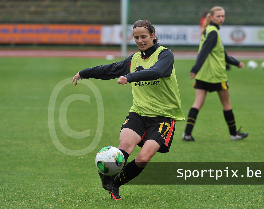 20131013 - BAMBERG , GERMANY :  Belgian Charlotte Van Ishoven pictured during the female soccer match between Switzerland Women U17 and Belgium U17 , in the second game of the Elite round in group 6 in the UEFA European Women's Under 17 competition 2013 in the Fuchs Park Stadion - Bamberg  Sunday 13 October 2013. PHOTO DAVID CATRY