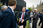 Five days after Election Day a new Government is formed involving the Conservative Party and The Liberal Democratic Party. Photos taken at College Green (Abingdon Street Gardens) in Westminster, London. Photo shows Conservative MP and new Secretary of Sate for Education, Michael Gove. Michael is married to Sarah Vine, who is a leader writer at The Times.
