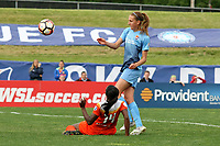 Piscataway, NJ - Saturday May 20, 2017: Sarah Killion, Nichelle Prince during a regular season National Women's Soccer League (NWSL) match between Sky Blue FC and the Houston Dash at Yurcak Field.  Sky Blue defeated Houston, 2-1.