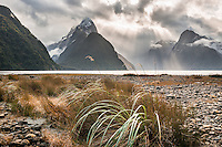 Milford Sound and Mitre Peak with dramatic skies before sunset, Fiordland National Park, Southland, UNESCO World Heritage Area, New Zealand, NZ