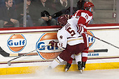Casey Fitzgerald (BC - 5), Clayton Keller (BU - 19) - The visiting Boston University Terriers defeated the Boston College Eagles 3-0 on Monday, January 16, 2017, at Kelley Rink in Conte Forum in Chestnut Hill, Massachusetts.