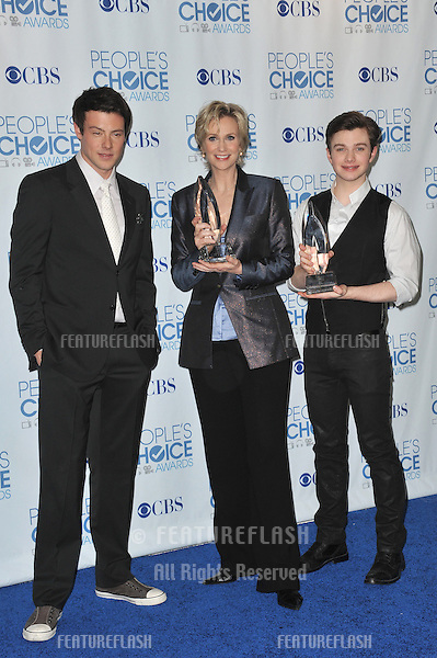 Glee stars Cory Monteith (left), Jane Lynch & Chris Colfer at the 2011 Peoples' Choice Awards at the Nokia Theatre L.A. Live in downtown Los Angeles..January 5, 2011  Los Angeles, CA.Picture: Paul Smith / Featureflash