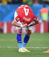 FUSSBALL WM 2014  VORRUNDE    Gruppe A    12.06.2014 Brasilien - Kroatien Ivan Perisic (Kroatien) zieht nach dem Abpfiff das Trikto aus