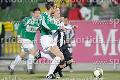 20.03.2010, Pappelstadion, Matterburg, AUT, 1. FBL, SV Bauwelt Koch Mattersburg vs Lask Linz, im Bild Lask Linz Christian Mayerleb, SV Bauwelt Koch Mattersburg Peter Chrappan, EXPA Pictures © 2010, PhotoCredit: EXPA / S. Trimmel / SPORTIDA PHOTO AGENCY