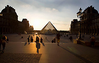Glass pyramid by I. M. Pei, rising from the centre of the Cour Napoleon, Louvre Museum, Paris, France. Inaugurated March 30, 1989 Picture by Manuel Cohen