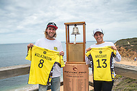 Bells Beach, Torquay, Victoria, Australia (Wednesday, March 23 2016): Current World #1's Matty Wilkinson (AUS)  and Tyler Wright (AUS) -<br /> The Press Conference for the 2016 Rip Curl Pro was held this afternoon at the contest site.<br /> Bells Beach has been hosting surfing tournaments for more than 50 years now, making it the most renowned spot on the raw and rugged southern coast of Victoria, Australia. The list of  Rip Curl Pro event champions is a veritable who's who of surfing icons, including many world champions.<br /> <br /> Surfing's greats have a way of dominating Bells. Mark Richards, Kelly Slater, and Mick Fanning all have four Bells trophies; Michael Peterson and Sunny Garcia, three; While Simon Anderson, Tom Curren, Joel Parkinson, Andy Irons, and Damien Hardman each grabbed a pair.<br /> <br /> The story is similar on the women's side. Lisa Andersen and Stephanie Gilmore have four Bells titles; Layne Beachley and Pauline Menczer, three; while Kim Mearig and Sally Fitzgibbons each have two.<br /> <br /> The 2016 event is about to kick off tomorrow and there was a packed warm up session at Bells this morning. <br /> Photo: joliphotos.com