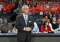 Jan. 8, 2011; Charlottesville, VA, USA;  North Carolina Tar Heels head coach Roy Williams watches warm ups during the game against the Virginia Cavaliers at the John Paul Jones Arena. Mandatory Credit: Andrew Shurtleff