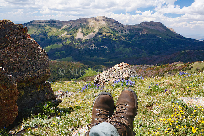 The boots of a hiker taking a rest stop in the Snowcrest Mountains near Dillon, Montana