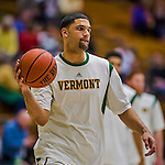 4 February 2014: University of Vermont Catamount Forward Luke Apfeld, a Senior from Chattanooga, TN, warms up prior to facing the University of Maine Black Bears at Patrick Gymnasium in Burlington, Vermont. The Cats defeated the Bears 93-65 improving to 9-1 in America East and 15-9 overall. Mandatory Credit: Ed Wolfstein Photo *** RAW (NEF) Image File Available ***