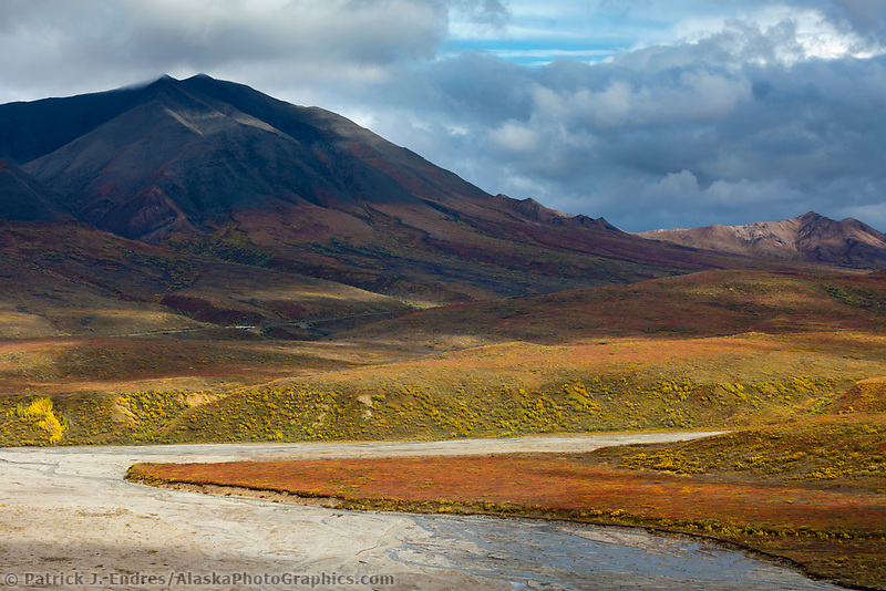 Autumn landscape of the colorful tundra, East fork of the Toklat river drainage, and Alaska mountain range in Denali National park.