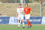 12 November 2008: Clemson's Nathan Thornton (16) and Boston College's Stephen Hepburn (12). Boston College defeated Clemson University 1-0 in the second sudden-victory overtime period at Koka Booth Stadium at WakeMed Soccer Park in Cary, NC in a men's ACC tournament quarterfinal game.