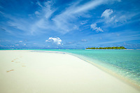 Maina Island as seen from the beach of Honeymoon Island, Aitutaki Lagoon, Aitutaki Atoll, Cook Islands.
